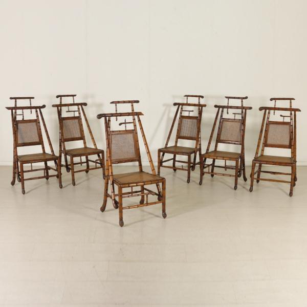 Gruppo di Sei Sedie in Acero Intagliate a finto bambù